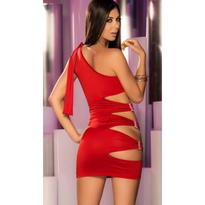Kırmızı Taşlı Seksi Fantazi Elbise