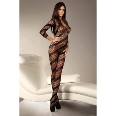 Siyah Geniş Fileli Uzun Kollu Vücut Çorabı